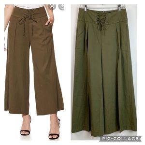 PAIGE Charisma wide crop leg lace up waist pants